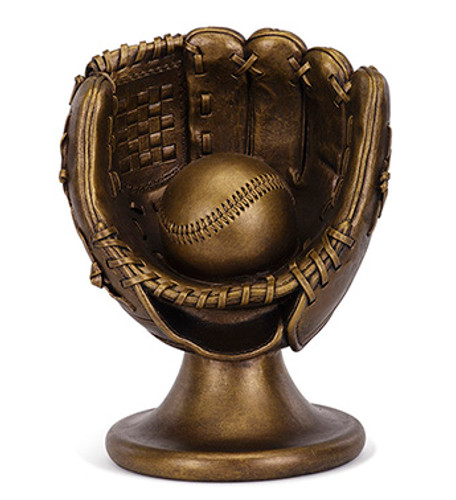 Bronze Baseball Glove on Stand