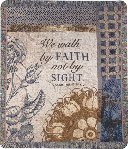 We Walk By Faith Tapestry Throw Blanket