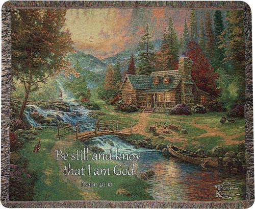 Mountain Paradise Psalm 46:10 Throw Blanket