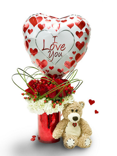 The Full Monty Monty Rose Bouquet Includes Teddy Bear, Chocolate & Balloon