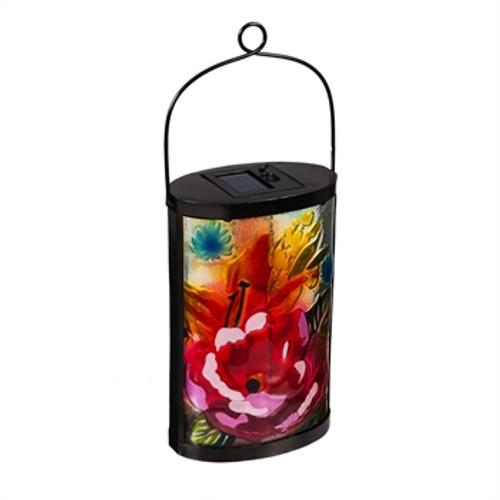 Garden Friends Solar Lantern,  Boho Floral Red