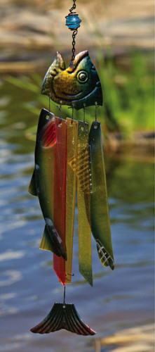 Stripped Glass Fish Chime by Woodstock