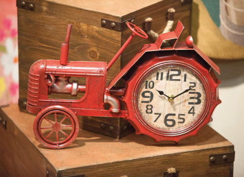 Red Old Fashioned Farm Tractor Table Clock