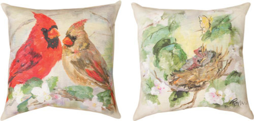 """Cardinal In Flowers 18""""x 18"""" Climateweave Indoor/Outdoor Pillow"""