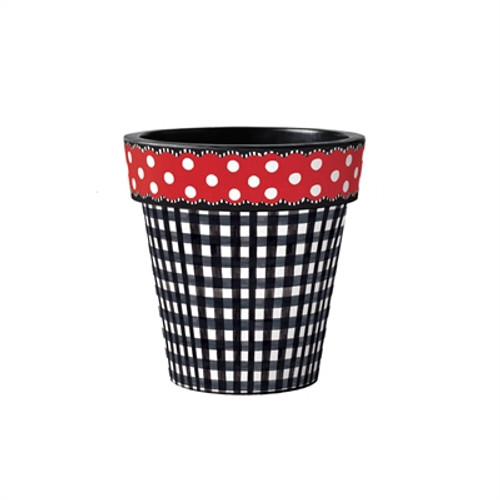"""Black Gingham with Red Dots 12"""" Art Planter"""