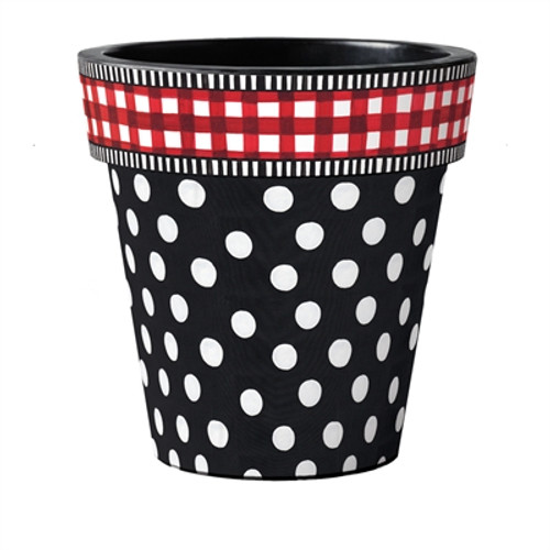 """Black with White Dots  18"""" Art Planter  ~ Set of 2"""