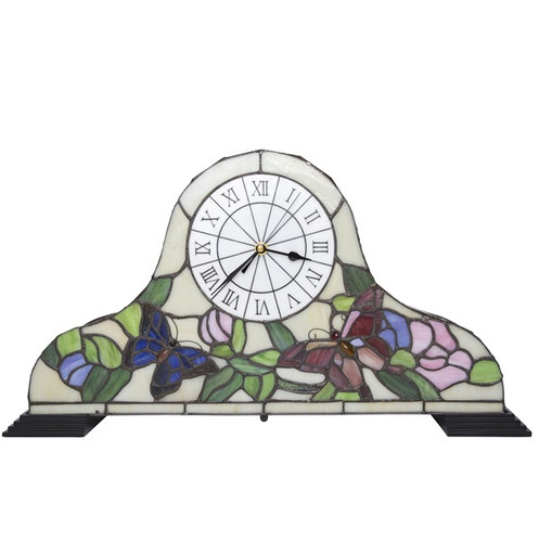 """12""""H Tiffany Style Accent Butterfly Clock"""