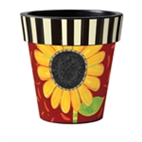 "Bold Sunflower on Red 18"" Art Planter  ~ Set of 2"