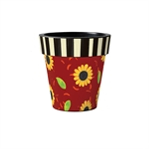 """Sunflower Leaves with Stripes  12"""" Art Planter"""