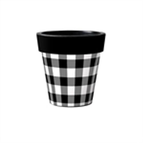 """Black & White Check 12"""" Art Planter  ~ Set of 2"""