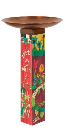 I Get By Bird Bath Art Pole
