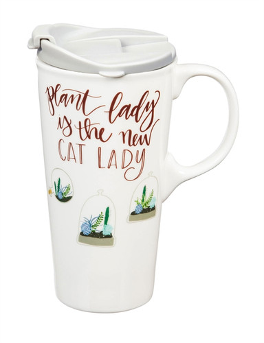 Plant Lady Ceramic Travel Cup with Tritan Lid