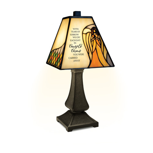 """Angels' Arms"" Stained Glass Memorial Lamp"