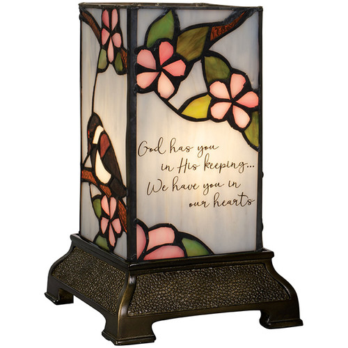 """""""His Keeping"""" 6"""" Stained Glass Memorial Lamp"""