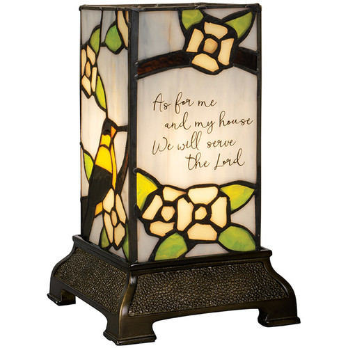 """Serve The Lord"" 6"" Stained Glass Memorial Lamp"