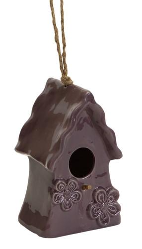 Ceramic Hanging Bird House, Brown