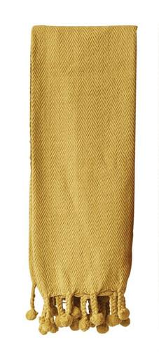 Cotton Throw w/ Pom Pom, Gold