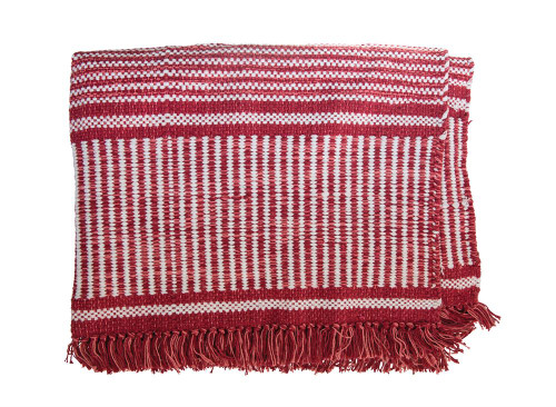 Cotton Woven Dhurrie Rug w/ Fringe, Red