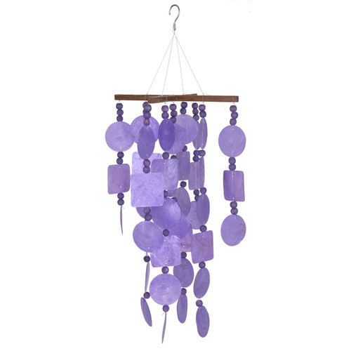 Purple Capiz Chime With Wood Beads by Woodstock