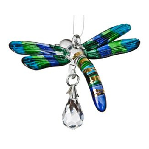Fantasy Glass Suncatcher by Woodstock - Dragonfly, Peacock