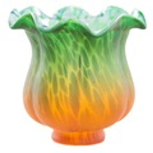 """4""""H Handpainted Glass Tulip Lily Replacement Shade-Green/Amber - PRE-SALE ONLY"""
