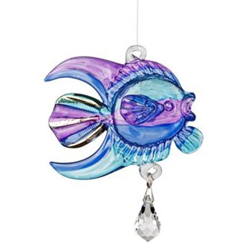 Fantasy Glass Suncatcher by Woodstock - Coral Fish, Purple