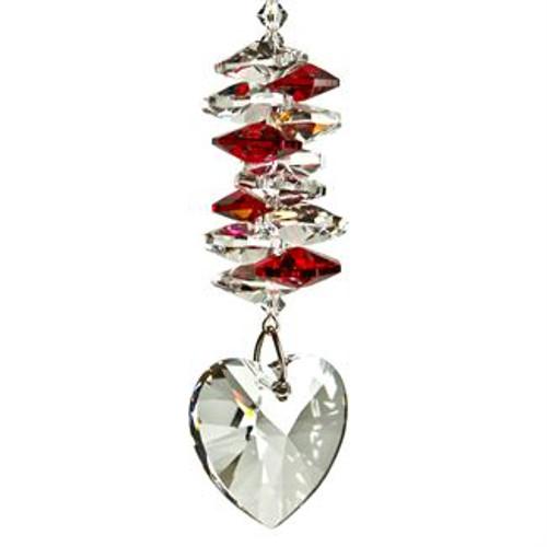 Crystal Heart Cascade Suncatcher by Woodstock - Ruby