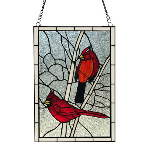 """30.25""""H Northern Cardinal Songbird Stained Glass Window Panel"""