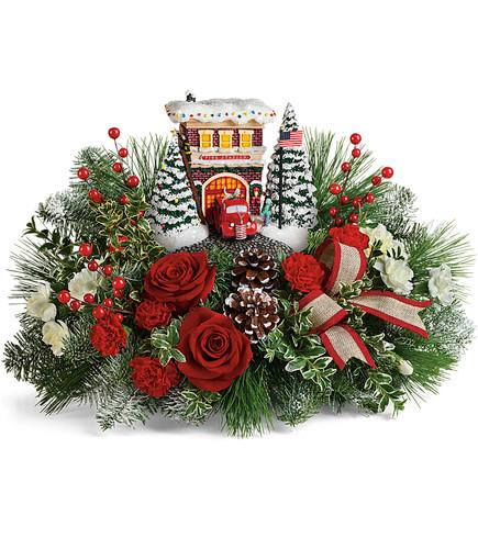 Thomas Kinkade's Festive Fire Station Bouquet