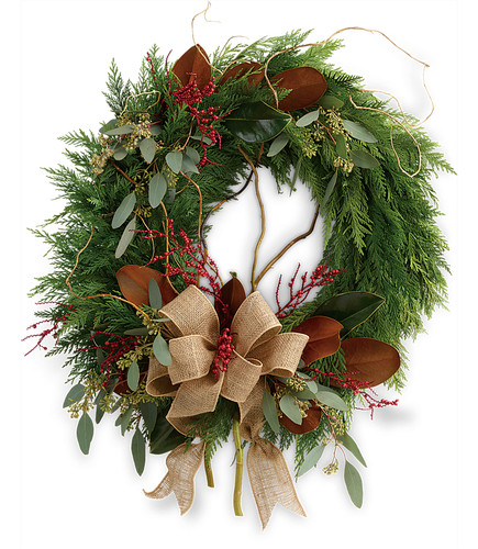 Rustic Holiday  Fresh Evergreen Wreath TWR15-3A