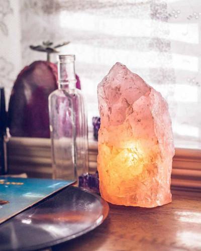 Rough Rose Natural Quartz Lamp