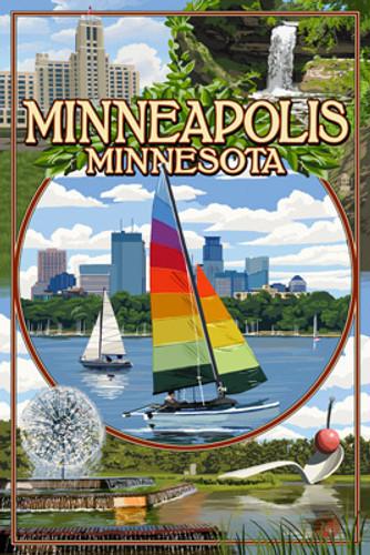 Minneapolis - Minnesota City Scenes Montage Ceramic Coasters