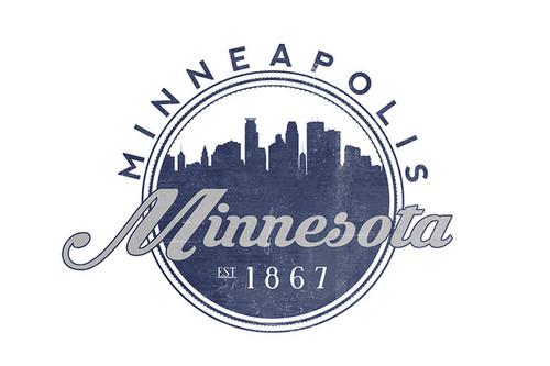 Minneapolis - Minnesota Skyline Seal (Blue) Ceramic Coasters