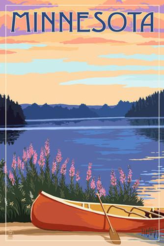 Minnesota - Canoe and Lake Ceramic Coasters ~ Set of Four