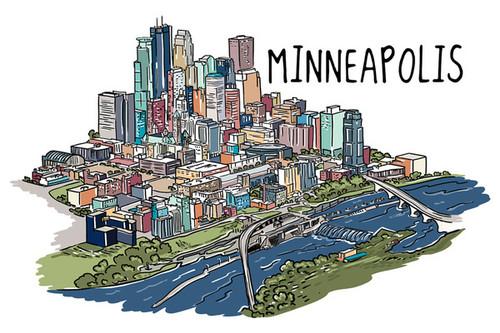 Minneapolis - Minnesota Cityscape Line Drawing Coasters ~ Set of Four