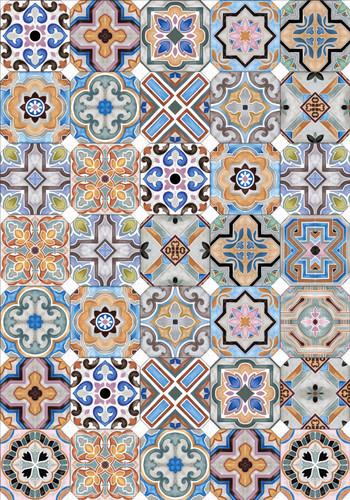 Tile Look Vinyl Placemat Rigid -Set of 6-Porto Mix