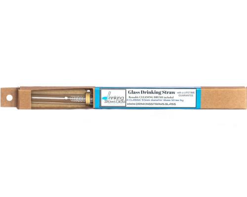 "8"" Reusable Glass Drinking Straw w/Cleaning Brush - Lifetime Gaurentee"