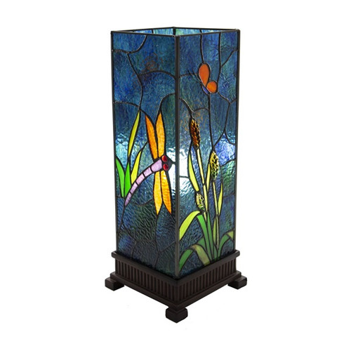 "17.5""H Dragonfly Prairie Stained Glass Uplight Table Lamp"