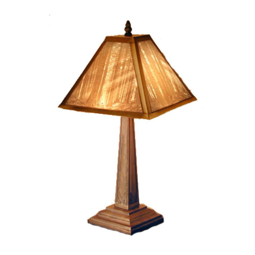 "19"" Deep Woods Lithoplane Mission Table  Lamp"