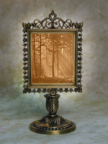 "9"" Woodland Sunbeam Lithoplane Victorian Stand Accent Lamp"