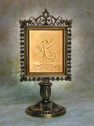 "9"" Gaurdian Angel  Lithoplane Victorian Stand Accent Lamp"