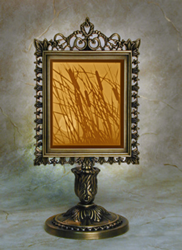 "9"" Cattails Lithoplane Victorian Stand Accent Lamp"