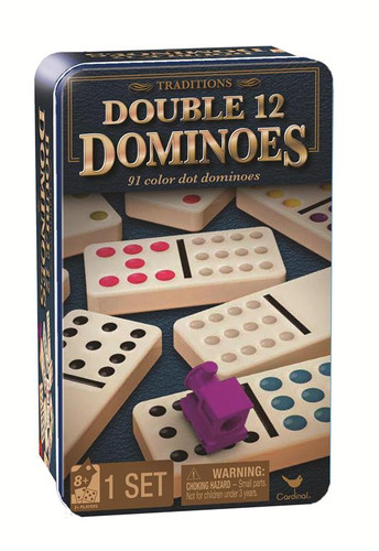 Traditions Double 12 Dominoes in Tin with Trains