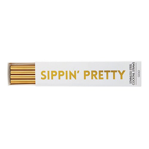 """Sippin Pretty"" Re-Useable Metal Cocktail Set of 4 Straws"