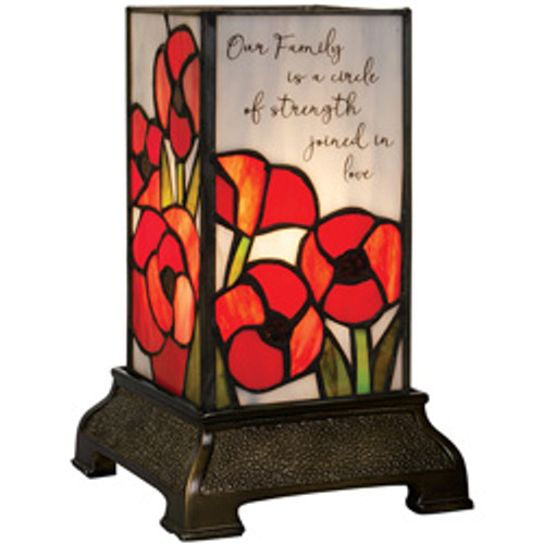 "Family"" 6"" Stained Glass Memorial Lamp"