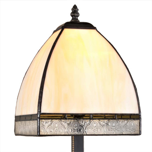 J Devlin Glass Art  Tiffany Stained Glass Table Lamp Curved Glass Accent Light