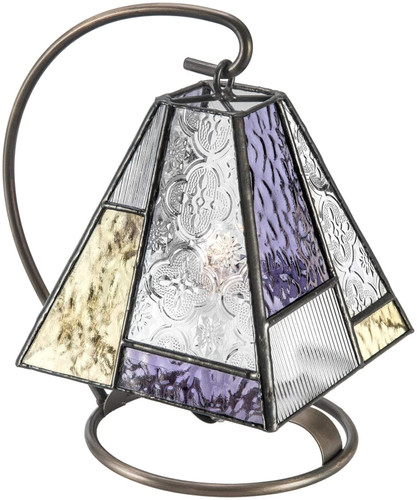 Tiffany Styled Stained Glass  Night Light Lamp-Purple