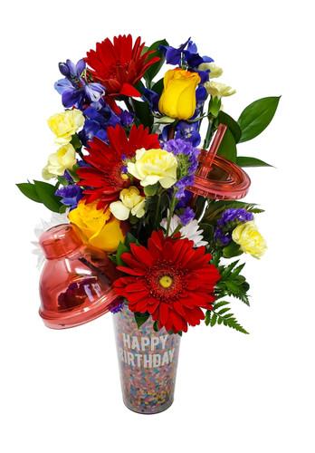 Drink Shaker &  Bright 'n Bold Birthday Bouquet