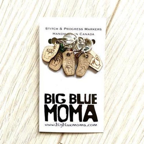 Stitch Marker - Set of Five Hands By Big Blue Moma