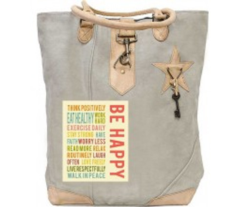 BE HAPPY CANVAS TOTE By Vintage Addiction